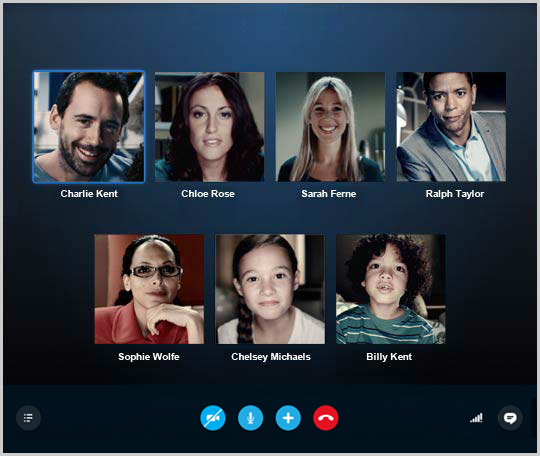 The group video call window displaying the group contacts.