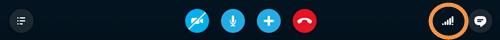 Ícone de qualidade de chamada no lado direito da barra de chamadas.
