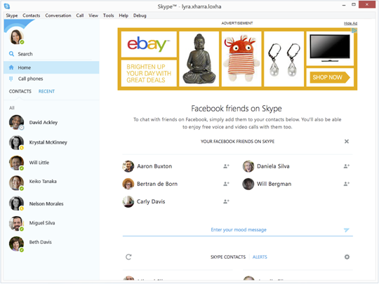 Skype Home with Skype contacts, Facebook friends, Alerts and All highlighted