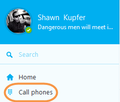 Call phones icon selected