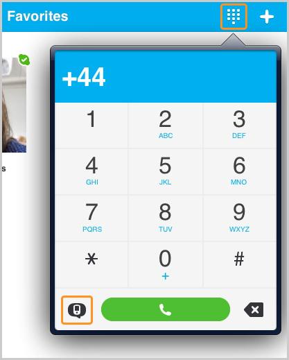 Wähltasten mit ausgewähltem SMS-Symbol