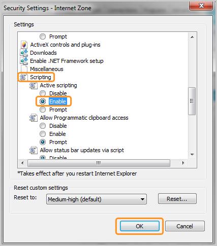 Opções Script (Scripting), Habilitar (Enable) e OK selecionadas na janela Zona da Internet (Internet Zone).
