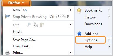 Opções (Options) selecionadas depois de clicar em Firefox.