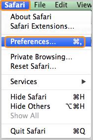 Opção Preferências… (Preferences) selecionada em Safari.