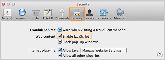 Opção Ativar JavaScript (Enable JavaScript) marcada na seção Conteúdo da Internet (Web content) da guia Segurança (Security).