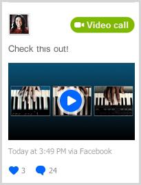 Opção Chamada com vídeo exibida depois de passar o mouse sobre a atualização.