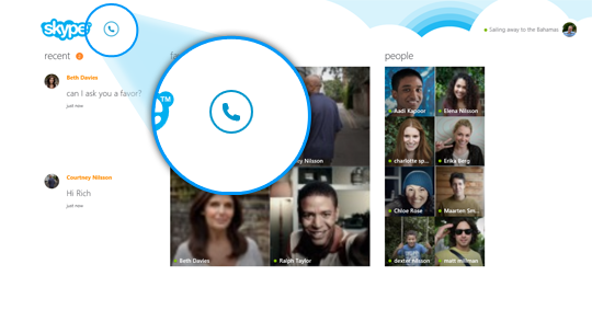 L'icona chiama i telefoni selezionata in Skype Home.