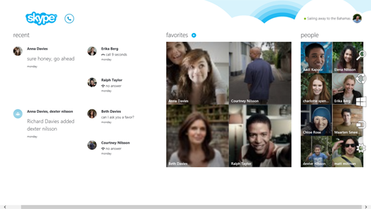 Skype Home screen