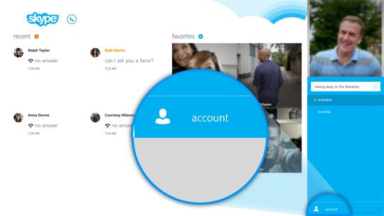 Account selezionato a destra dello schermo