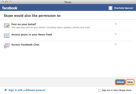 The Allow and Skip buttons selected in the Facebook window