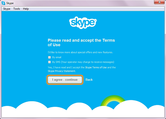 The I agree – continue option selected to accept the Skype's Terms of Use
