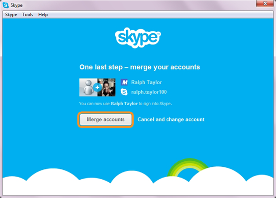 The Merge accounts option selected to merge your Skype and Facebook accounts
