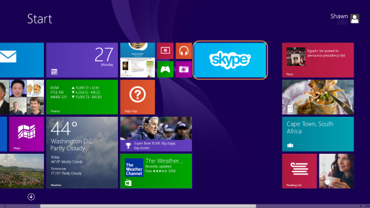 Icono de Skype en la pantalla Inicio de Windows 8.