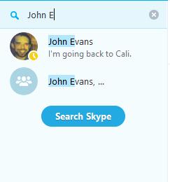Option Search all people on Skype (Chercher toutes les personnes sur Skype) sélectionnée.