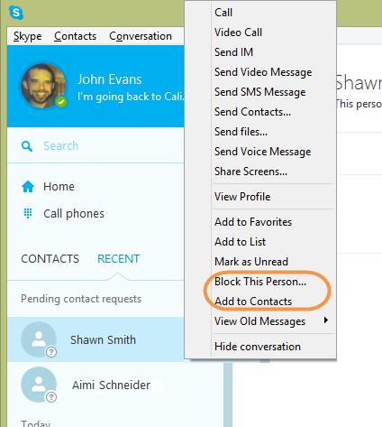Options Add to Contacts (Ajouter aux contacts), Ignore (Ignorer) et Block (Bloquer) affichées dans la fenêtre principale après avoir sélectionné le contact que vous avez supprimé.