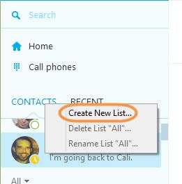 Option Create New List… (Créer une nouvelle liste...) sélectionnée après avoir cliqué avec le bouton droit sur l'onglet Contacts.