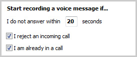 Set the number of seconds after which voice message recording will start.