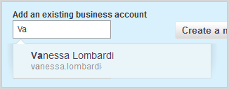 The Add an existing business account fill-in box in the Add business account tab.