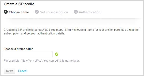 Janela Criar um perfil SIP com o campo para digitar o nome do perfil exibido.