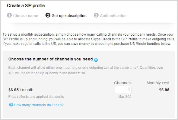 Caixa para digitar o número de canais com o custo mensal exibido na janela Criar um perfil SIP.