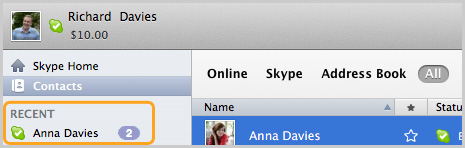 A contact in the Recent section of Skype