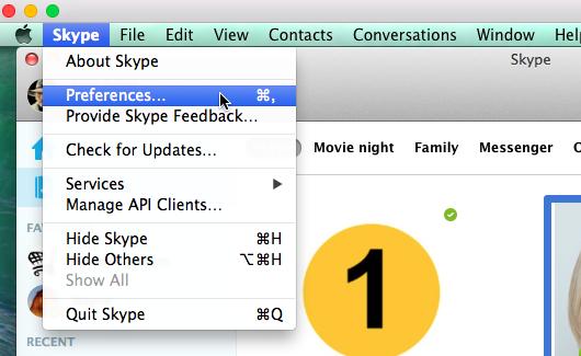 """Wählen Sie unter Skype Home im Dropdownnenü """"Skype"""" die Option """"Einstellungen..."""" aus."""