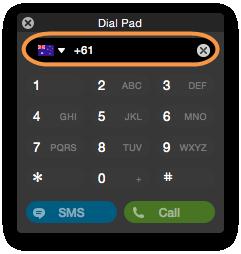 Screenshot del tastierino Skype che consente di immettere i numeri di telefono da chiamare. Utilizzando il tastierino è anche possibile inviare SMS o effettuare chiamate