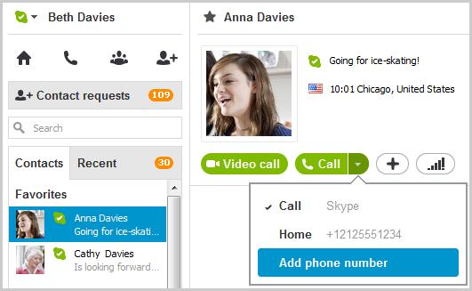 Opção Adicionar número de telefone selecionada no menu exibido depois de selecionar a seta no botão verde Ligar