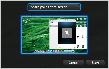 Option Share your entire screen (Partager l'intégralité de l'écran) et écran à partager sélectionnés.