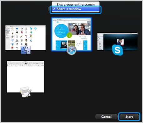 Bouton Start (Démarrer) sélectionné après avoir cliqué sur l'option Share a window (Partager une fenêtre) et sélection de la fenêtre à partager.