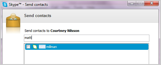 The Send contacts window with the box to enter the contact's name and select the contacts to be sent.