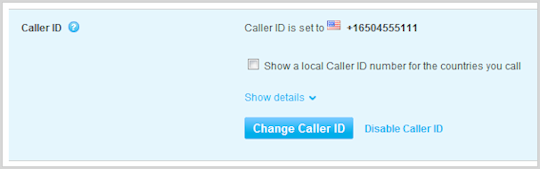 the options for changing the Caller ID settings