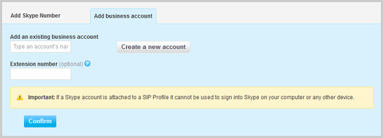 The Add business account tab in Skype Manager with a Confirm button.