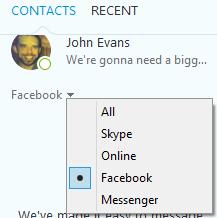 Die nach einem Klick auf den Pfeil neben 'Alle' auf der Registerkarte 'Kontakte' aus der angezeigten Liste ausgewählte Option 'Facebook'