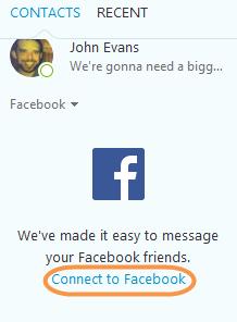 Die ausgewählte Schaltfläche 'Mit Facebook verbinden'