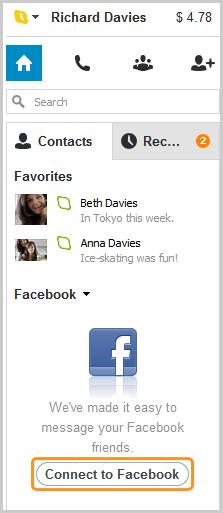 Botão Conectar ao Facebook selecionado.