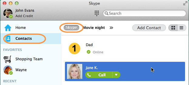 Contacts and Skype selected in the Skype main window.