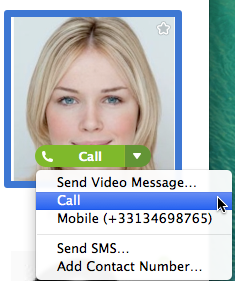 The ways to call the contact displayed - Video Call or Call.