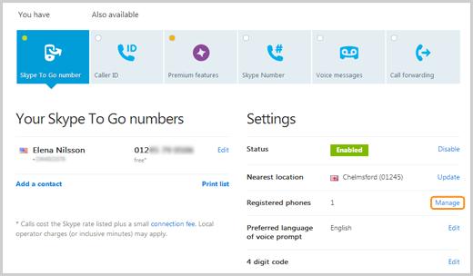 Opção Administrar selecionada na guia Número Skype To Go ao lado de Telefones cadastrados.