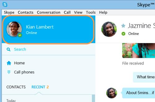 Skype Name highlighted in the Skype for Windows desktop window.