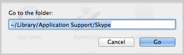 ~/Library/Application Support/Skype typed into the dialog box