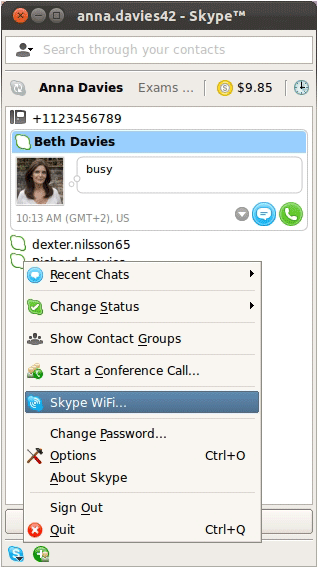 The Skype WiFi… option selected from the list that appears after clicking the Skype button at the bottom left of the Skype window.