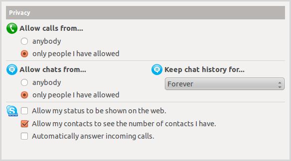 As opções de privacidade no Skype para Linux.