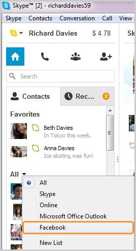 """Die nach einem Klick auf den Pfeil neben """"Alle"""" auf der Registerkarte """"Kontakte"""" aus der angezeigten Liste ausgewählte Option """"Facebook"""""""
