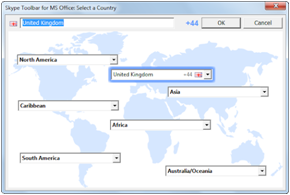 "Das Fenster ""Skype Toolbar for MS Office: Select a country (Skype Toolbar für MS Office: Wählen Sie ein Land aus)"