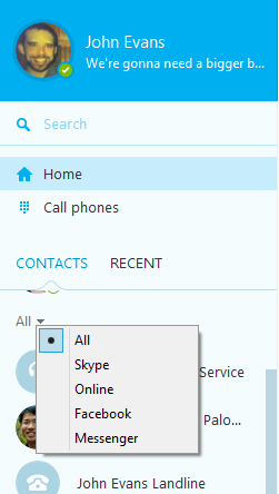 The All option selected from the drop-down menu in the Contacts tab.