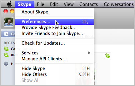 Opción Preferencias seleccionada en Skype.