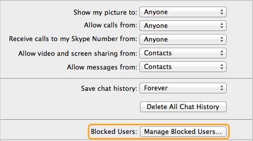 Utenti bloccati: Opzione Gestisci utenti bloccati selezionata nel pannello Privacy