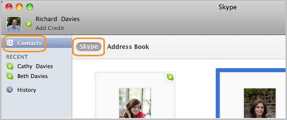 Apri la tua lista contatti Skype