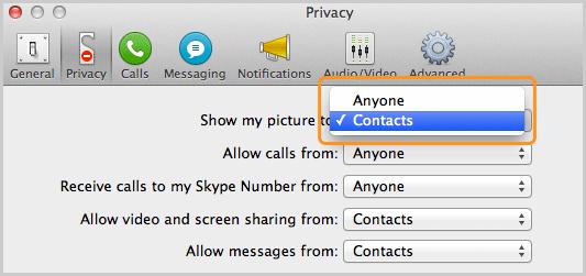 Opción Contactos seleccionada en la lista que está junto a Mostrar mi imagen a, en el panel Privacidad.
